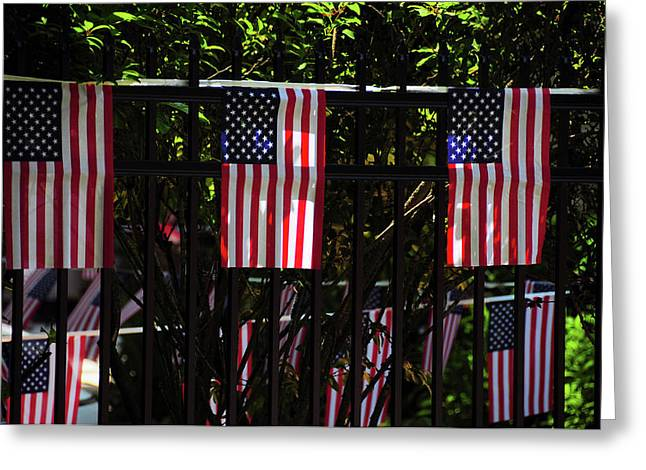 Draped Flags, July 4th, Parade Greeting Card