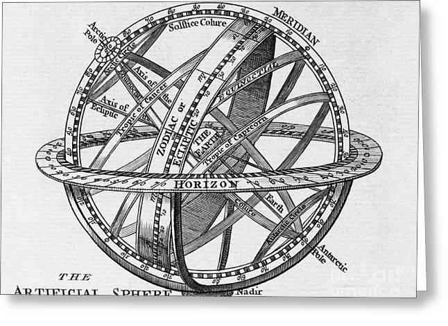 Drawing Of An Armillary Sphere Greeting Card by Middle Temple Library