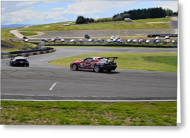 Drift Racing Greeting Card by Phil Kellett