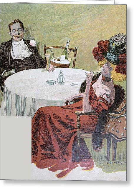 Drinking Champagne Greeting Card by German School