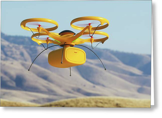 Drone In Transit Greeting Card by Ktsdesign/science Photo Library