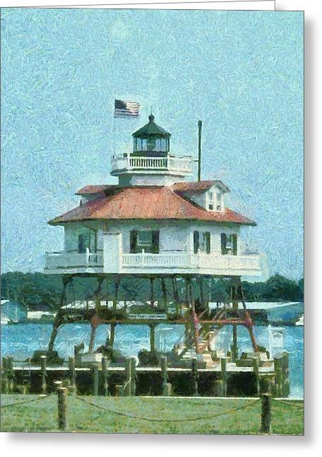 Drum Point Light Greeting Card by Unknown