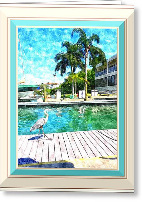 Dry Dock Bird Walk - Digitally Framed Greeting Card