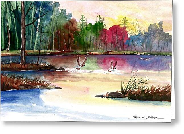 Duck Lake Greeting Card by Steven Schultz