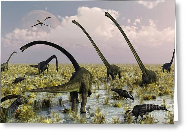 Duckbill Dinosaurs And Large Sauropods Greeting Card