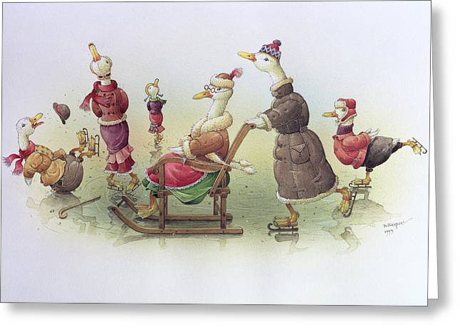 Ducks On Skates Greeting Card
