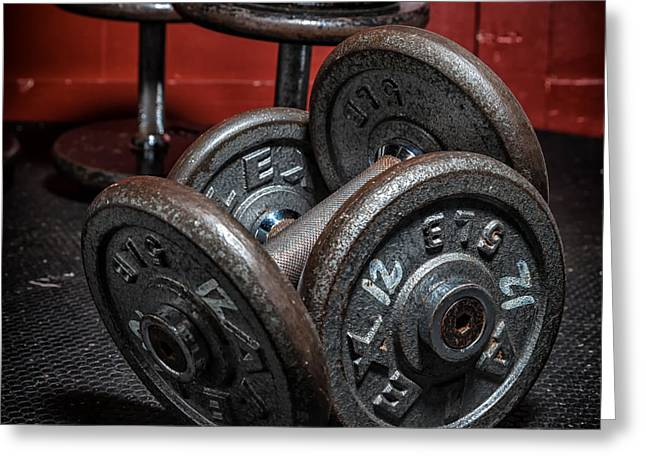 Dumbbells Greeting Card by Verena Matthew