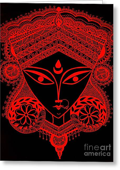 Durga Maa Greeting Card by Sketchii Studio