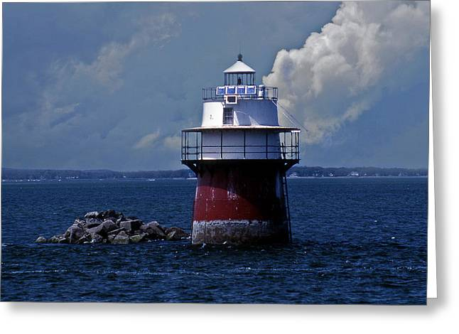Duxbury Pier Lighthouse Greeting Card by Skip Willits