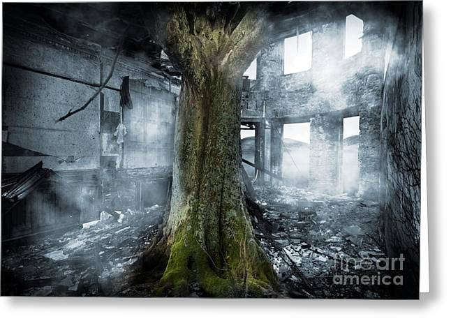 Dystopia, Conceptual Artwork Greeting Card by Victor Habbick Visions