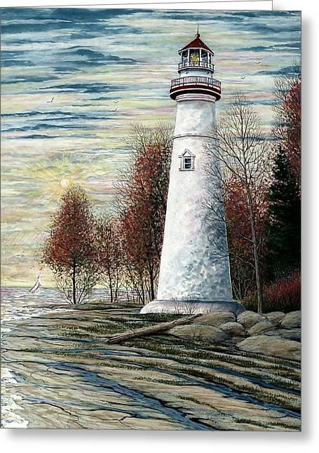 Eagle Bluff Light Greeting Card by Steven Schultz
