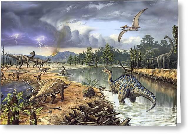 Early Cretaceous Life, Artwork Greeting Card by Richard Bizley