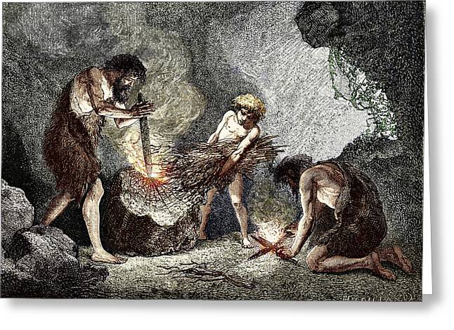 Early Humans Making Fire Greeting Card by Sheila Terry