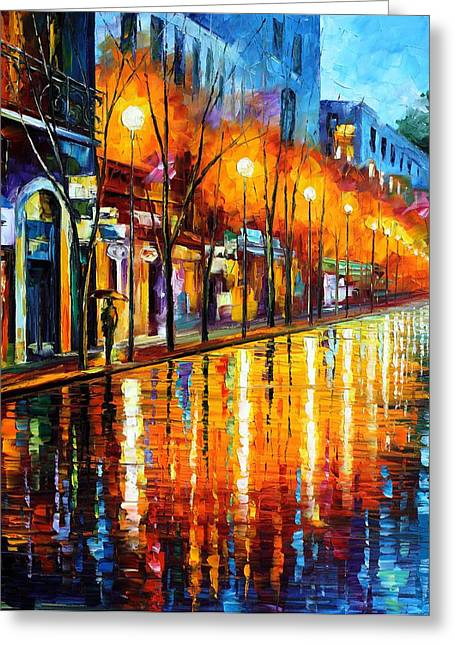 Early Morning In Paris Greeting Card by Leonid Afremov