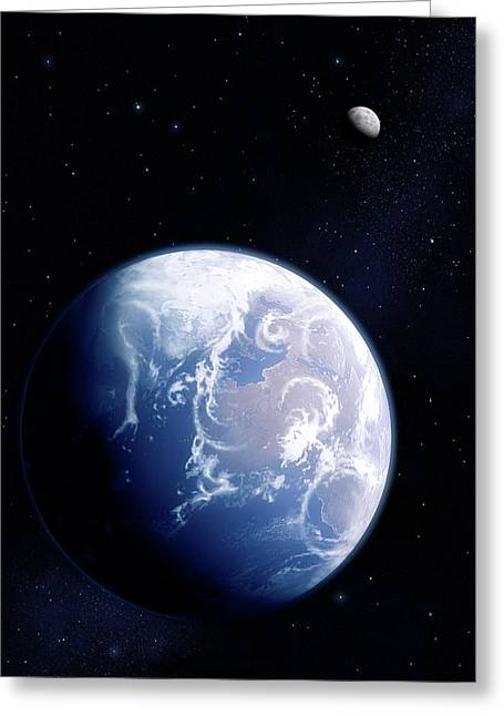 Earth And Moon Greeting Card by Mark Garlick/science Photo Library