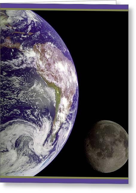 Earth And Moon Greeting Card by Nasa