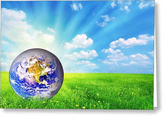 Earth Globe On Green Grass Greeting Card by Michal Bednarek