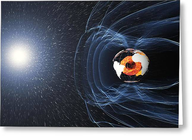 Earths Magnetic Field Greeting Card by Science Source
