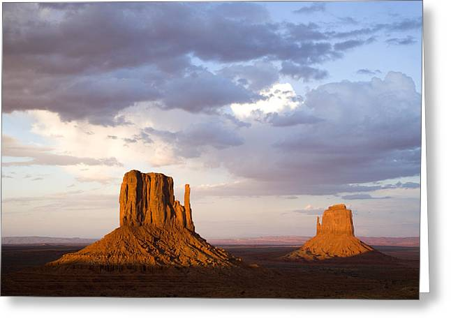 East And West Mittens Monument Valley Greeting Card by Tom Vezo