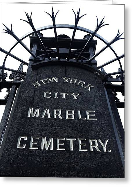 East Village Cemetery Greeting Card by Natasha Marco