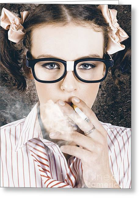 Edgy Grunge Portrait Of A Smoking Hipster Nerd Greeting Card by Jorgo Photography - Wall Art Gallery