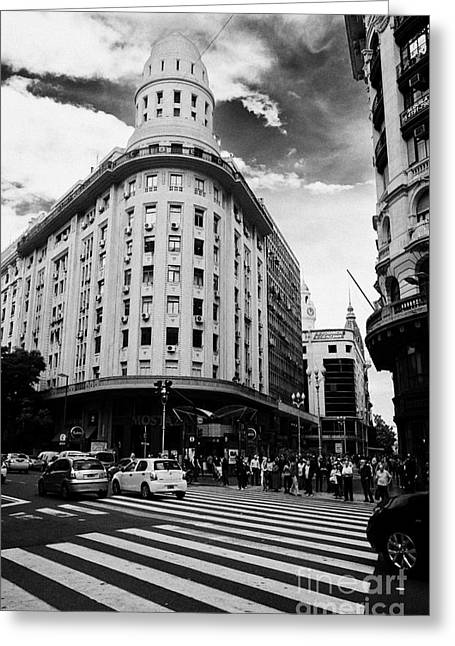 Edificio Bencich And South End Of Florida Street Downtown Buenos Aires Argentina Greeting Card by Joe Fox
