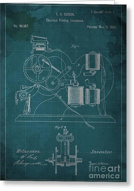 Edison Electrical Printing Instrument Blueprint Greeting Card