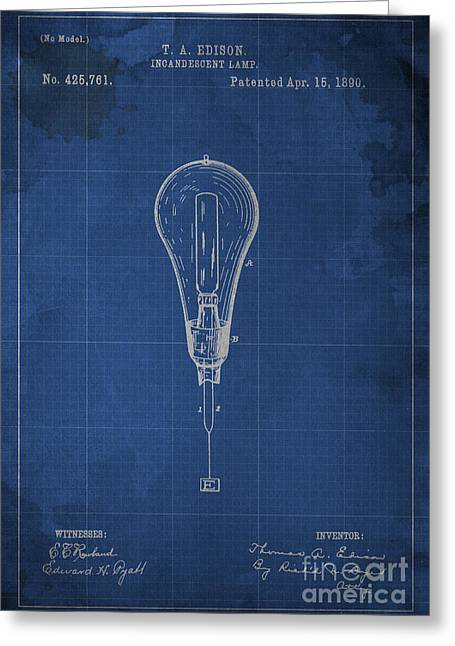 Edison Incandescent Lamp Patent Blueprint Greeting Card by Pablo Franchi