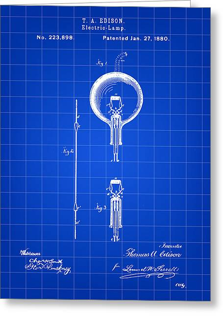 Edison Light Bulb Patent 1880 - Blue Greeting Card