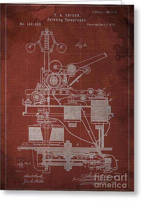 Edison Printing Telegraphs Patent Blueprint 2 Greeting Card by Pablo Franchi