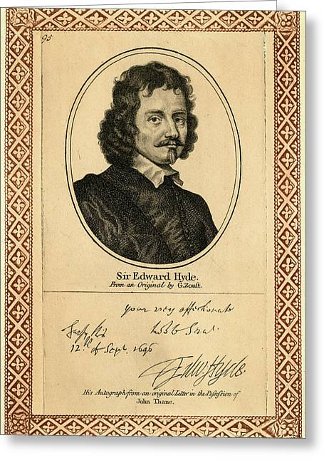 Edward Hyde, 1st Earl Of  Clarendon Greeting Card by Mary Evans Picture Library
