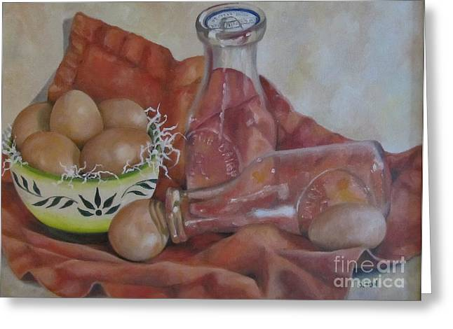 Eggs With Milk Bottles Greeting Card by Karen Olson