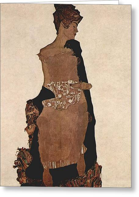 Egon Schiele Painting  Greeting Card by Celestial Images