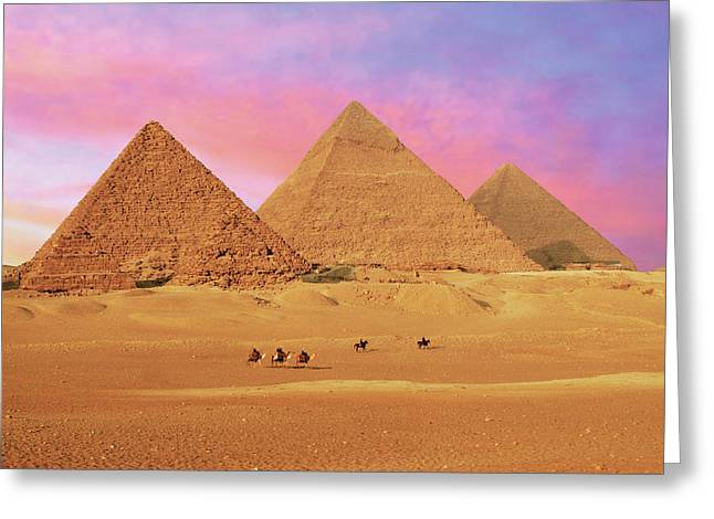 Egypt, Cairo, Giza, View Of All Three Greeting Card