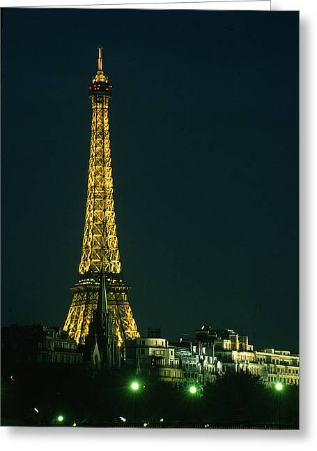 Eiffel Tower At Night Greeting Card by Carl Purcell