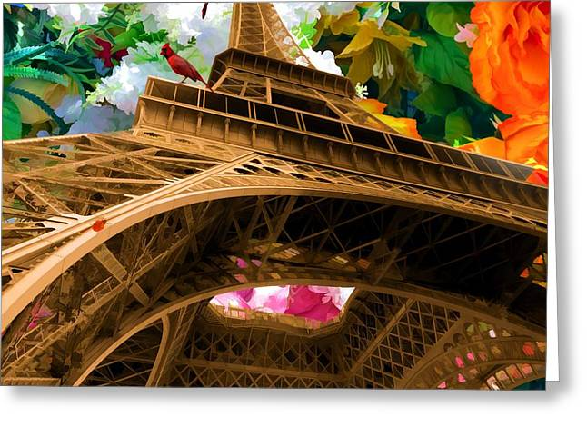 Eiffel Tower On A Bed Of Decorative Flowers Greeting Card