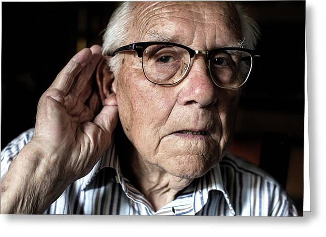 Elderly Man With Hearing Loss Greeting Card