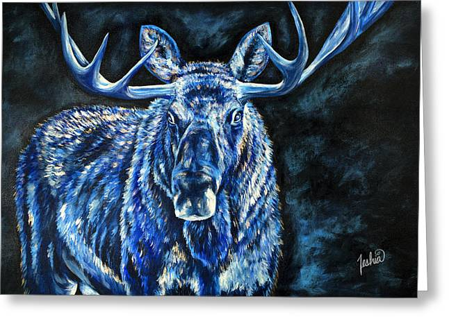 Electric Moose Greeting Card by Teshia Art