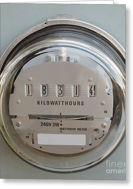 Electric Power Supply Watthour Meter Glass Covered Greeting Card by Stephan Pietzko