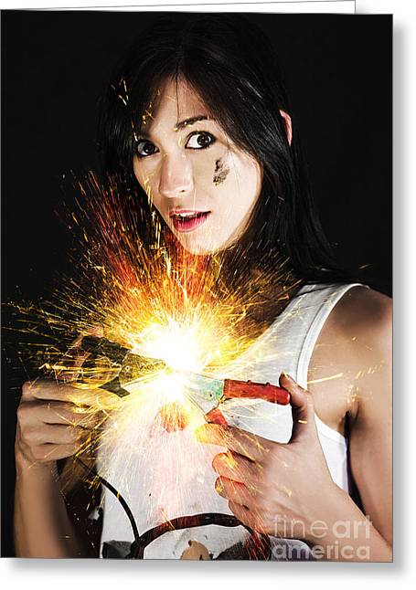 Electric Shock Power Surge Greeting Card by Jorgo Photography - Wall Art Gallery