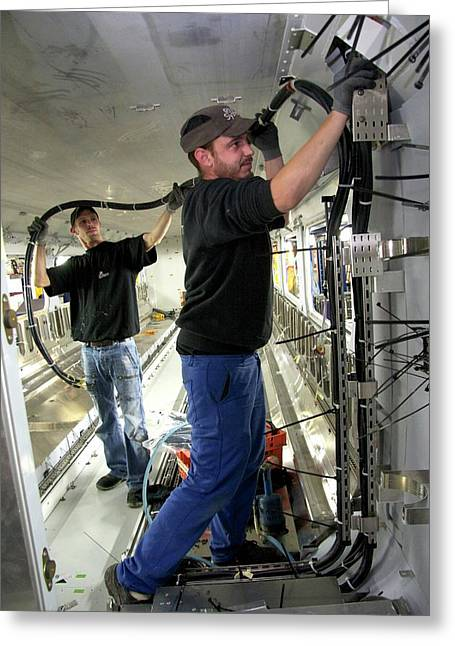Electric Wiring In Train Construction Greeting Card by Andrew Wheeler