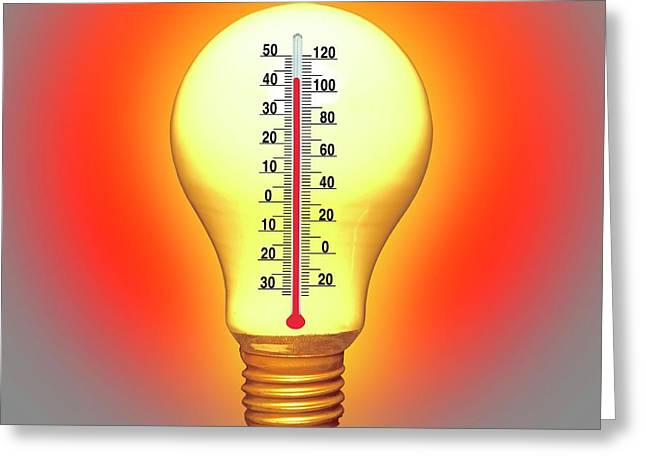 Electrical Lightbulb And Thermometer Greeting Card by Victor De Schwanberg