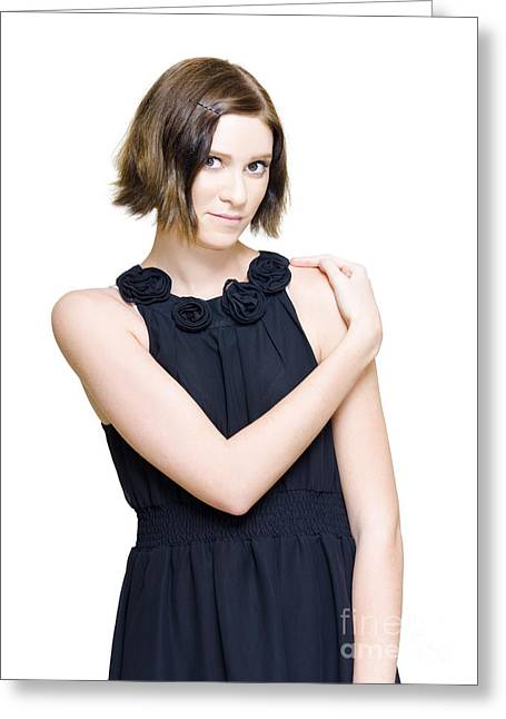 Elegant Fashion Model In Black Evening Dress Greeting Card by Jorgo Photography - Wall Art Gallery