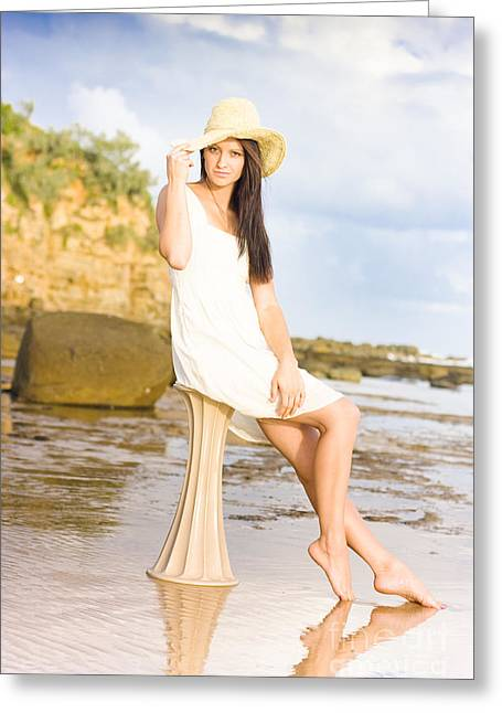 Elegant Woman With Hat Sitting At The Beach Greeting Card by Jorgo Photography - Wall Art Gallery