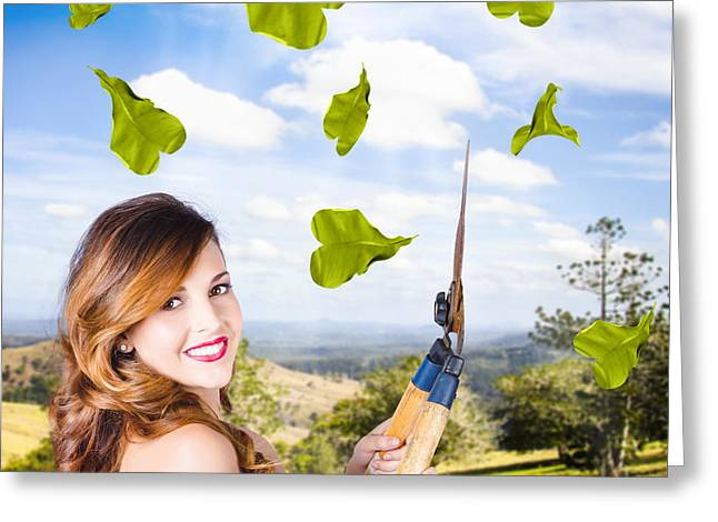 Elegant Young Woman With Shears. Gardening Love Greeting Card