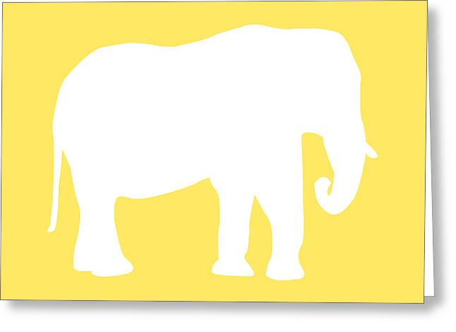 Elephant In Yellow And White Greeting Card