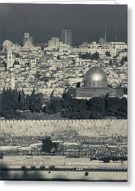 Elevated City View With Temple Mount Greeting Card