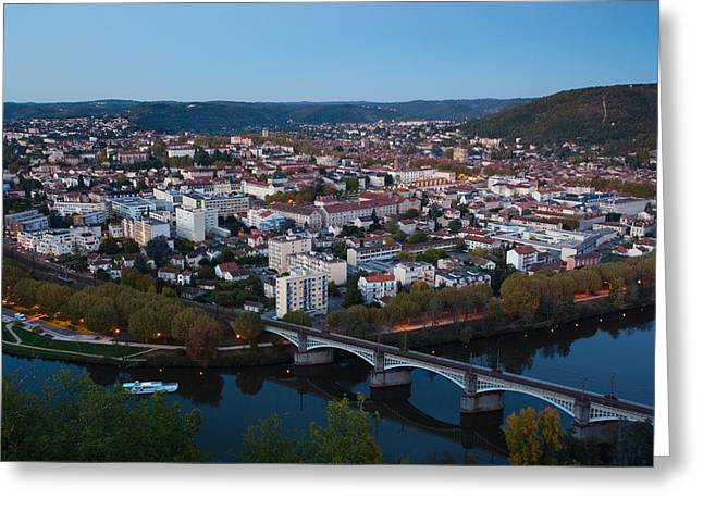 Elevated View Of A Town At Dusk Greeting Card