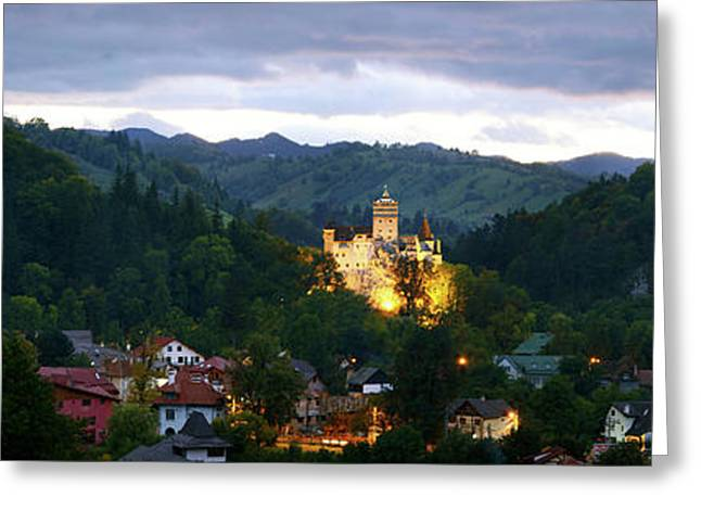 Elevated View Of A Town, Bran Castle Greeting Card by Panoramic Images