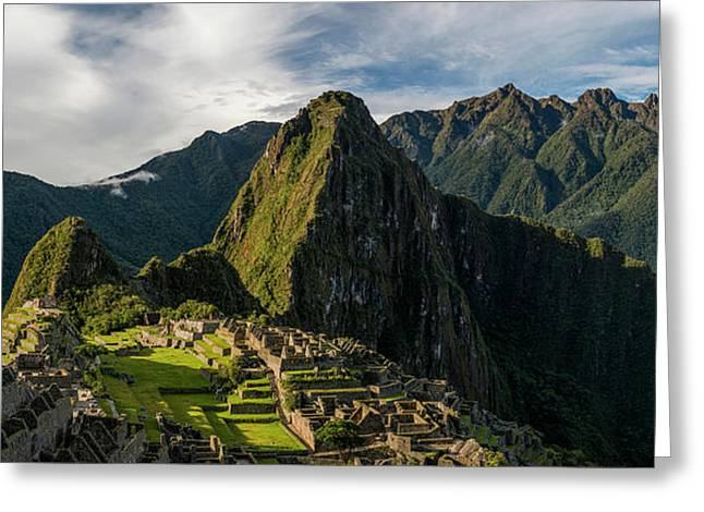 Elevated View Of Inca Ruins, Machu Greeting Card by Panoramic Images
